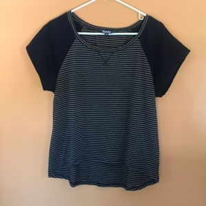 Keds Navy Mixed Media Striped Short Sleeve Top